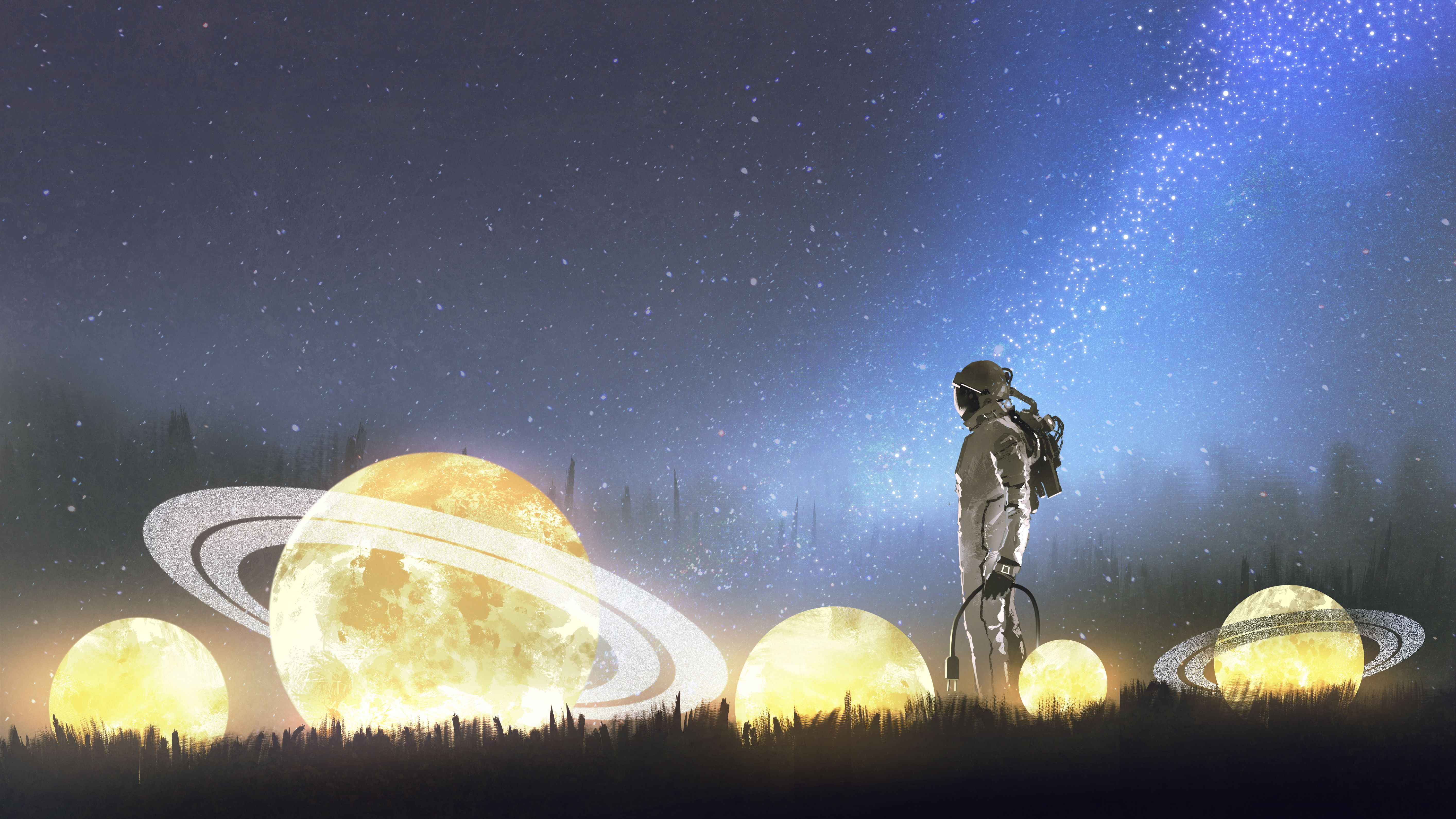 astronaut looking at stars