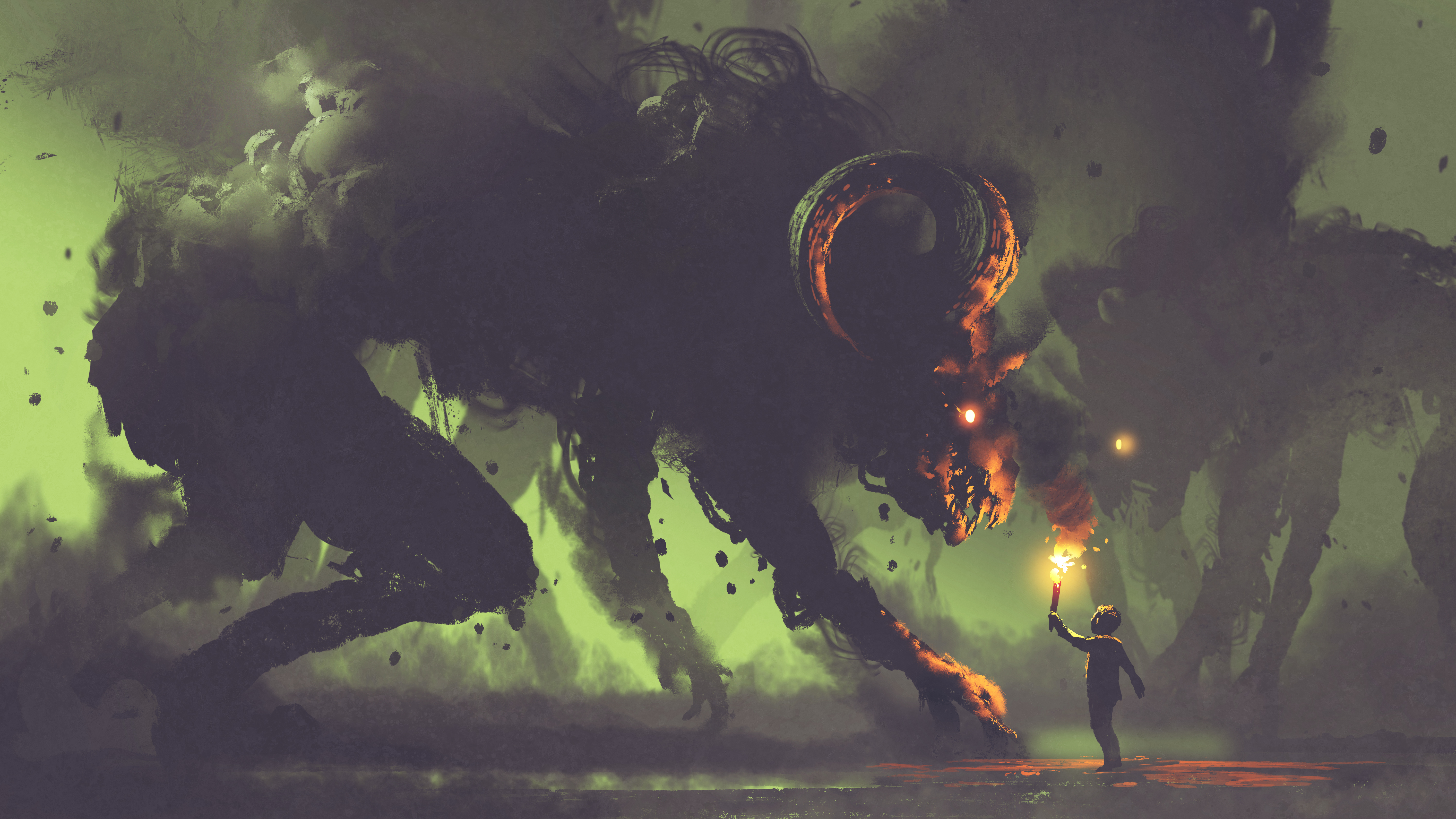 boy with a torch facing smoke monsters