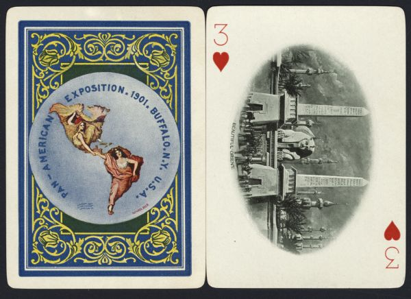 "Souvenir playing card out of a full deck from the Pan-American Exposition. The Three of Hearts displays a drawing of the ""Beautiful Orient."" Two obelisks frame the head of the Sphinx with a stone wall surrounding the area. Other towers and palm trees fill the background. In the foreground is a crowd of people with donkeys and camels. On the reverse is the official logo for the Pan-American Exposition in full color, with an ornate border."
