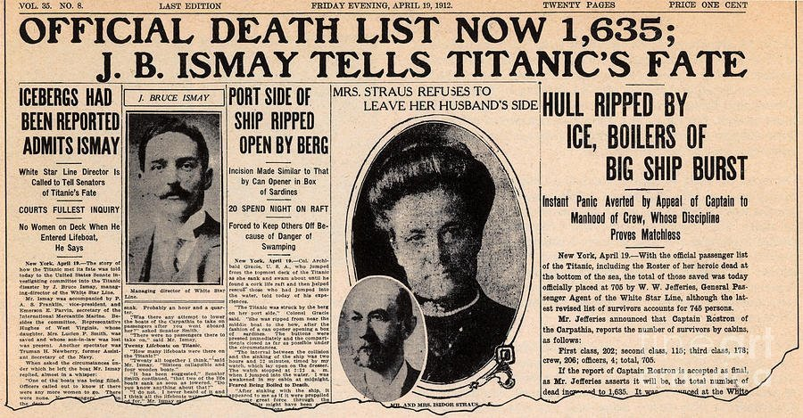 News Photograph - Titanic Sinking In The News by Photo Researchers