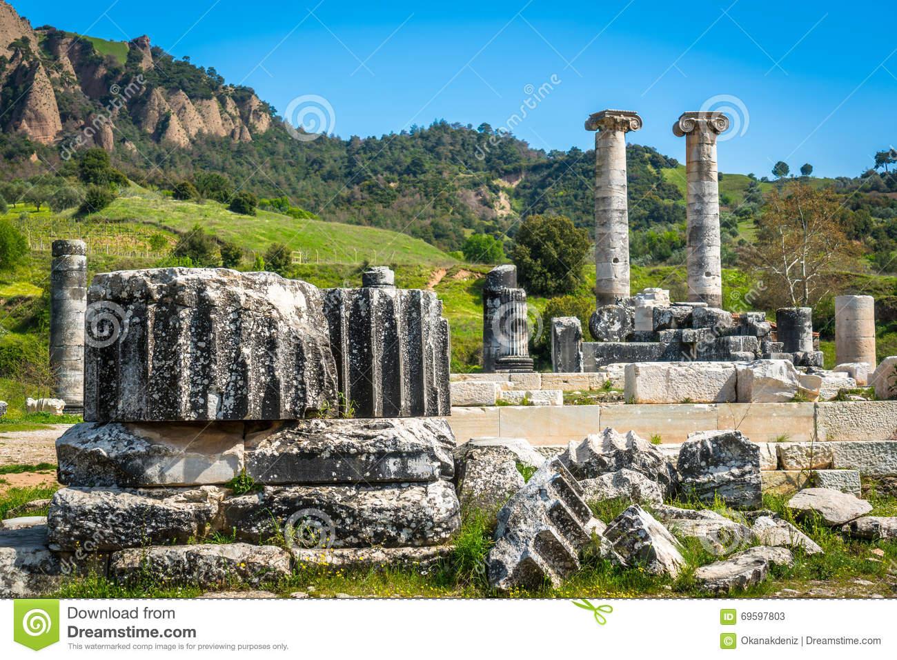 Greek Temple Of Artemis Near Ephesus And Sardis Stock Image ...