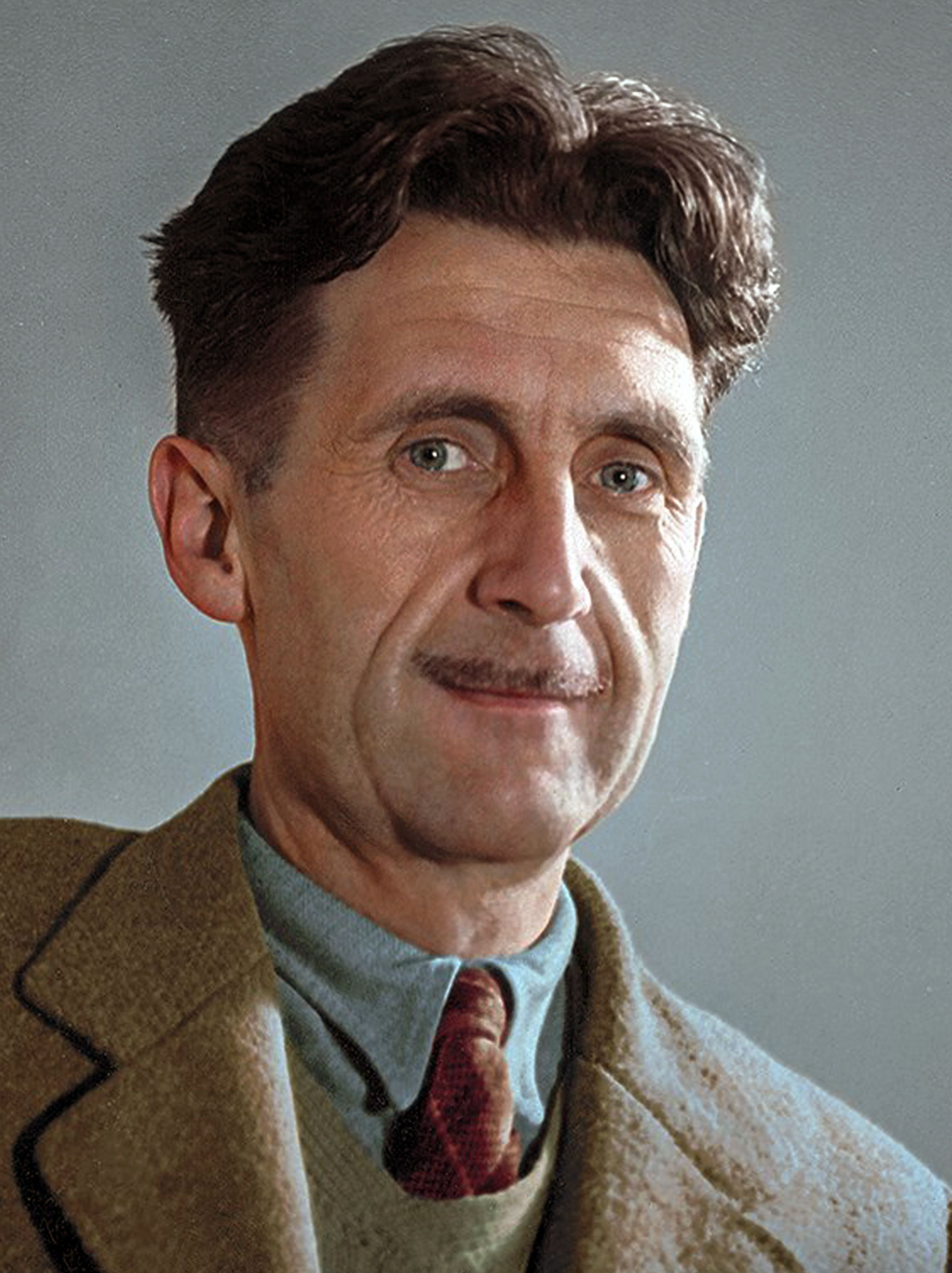 colorized by Jecinci // Orwell was an English novelist, essayist, journalist and critic, whose work is marked by lucid prose, awa… | Orwell, Portrait, George orwell