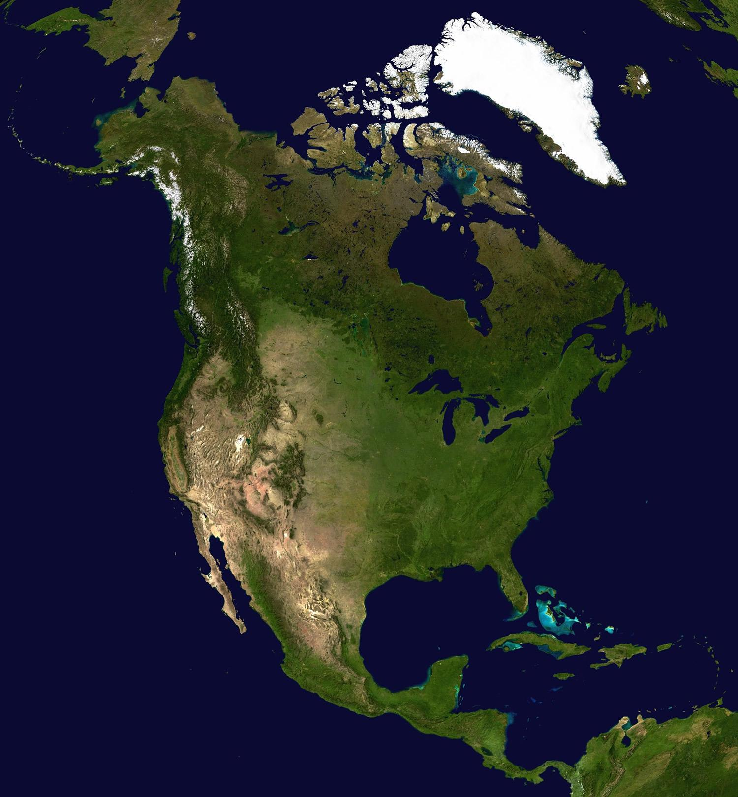 North America Map and Satellite Image