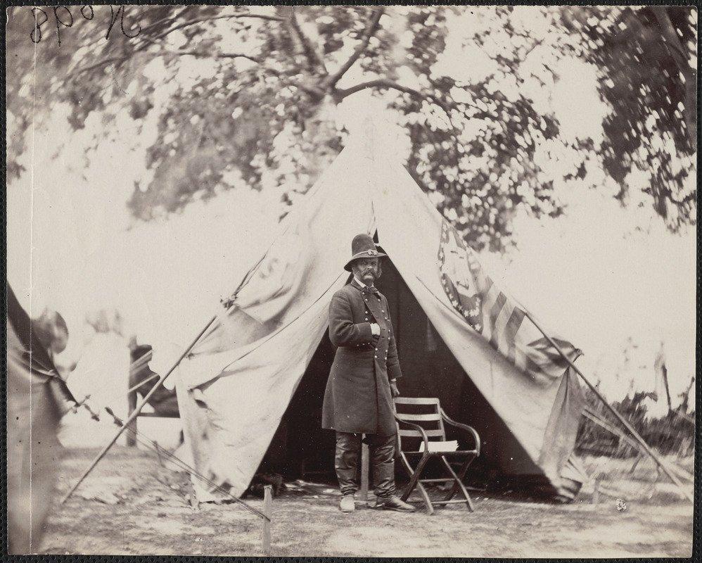 Major General Ambrose E. Burnside at headquarters tent, taken in front of Petersburg General Burnside - Digital Commonwealth